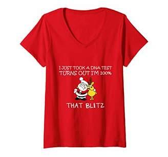 Womens I Just Took a DNA Test I'm 100% That Blitzen Christmas Xmas V-Neck T-Shirt