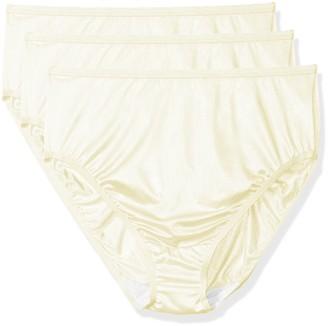Shadowline Women's Plus-Size Panties-Hi Cut Nylon Brief (3 Pack)
