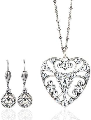 Anne Koplik Swarovski Crystal Lace Heart Necklace & Earrings