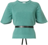 RED Valentino short sleeve knit top with belt