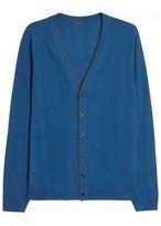 Pal Zileri Blue Merino Wool Cardigan