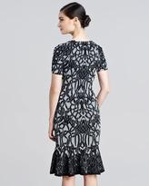 Zac Posen Jacquard Fluted Dress