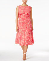 Jessica Howard Plus Size Floral-Print Ruched A-Line Dress