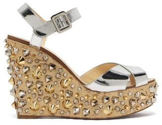 Christian Louboutin Almericca 120 Cork Lame Studded Wedge Sandals - Womens - Silver Gold