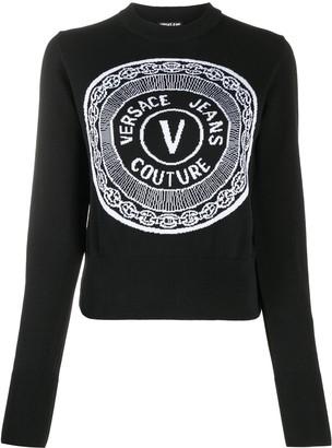 Versace Jeans Couture Intarsia Logo Crewneck Jumper