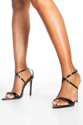 boohoo Diamante Pointed Toe Strappy Heels
