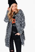 Boohoo Sophie Waterfall Cable Fringed Cardigan