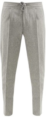 Incotex Pleated Wool-flannel Tapered-leg Trousers - Light Grey