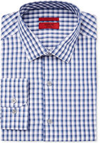 Alfani Men's Fitted Performance Stretch Easy Care Shaded Blue Gingham Dress Shirt, Only at Macy's
