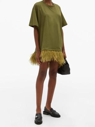 Marques Almeida Feathered-hem Cotton T-shirt Dress - Khaki