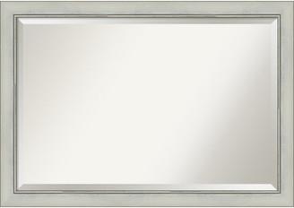 "Amanti Art Flair Silver Patina Bathroom Vanity Wall Mirror, 40""x28"""