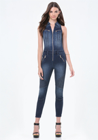 Bebe Denim Crop Moto Jumpsuit