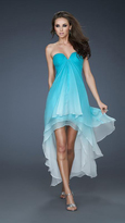 La Femme Chic Ombre Sweetheart High-Low Tiered Cocktail Dress 18049