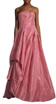 Oscar de la Renta Silk Draped Asymmetrical Gown