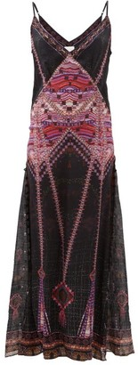 Camilla Mina Mina Printed Silk Maxi Dress - Womens - Black Multi