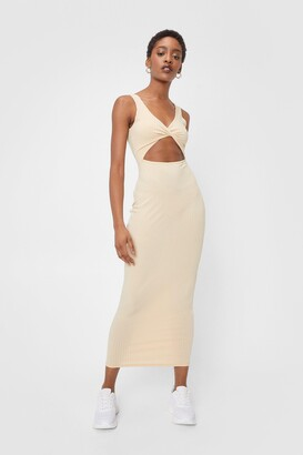 Nasty Gal Womens Ribbed Cut Out Twist Front Midi Dress - Black - 4