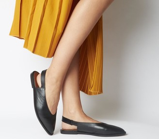 Office Forte Point Slingback Shoes Black Leather