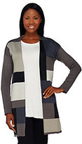 As Is H by Halston Patchwork Tonal Color-Block Sweater Coat