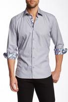 Jared Lang Paisley Trim Long Sleeve Semi-Fitted Shirt