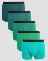 Asos Trunks In Green 5 Pack