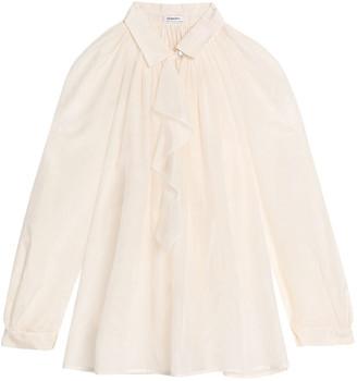 Vilshenko Ruffled-trimmed Cotton And Silk-blend Blouse