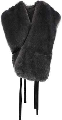 Helmut Lang Tie-detailed Faux Fur Wrap Vest