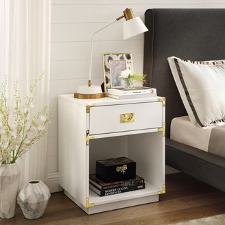 Inspired Home Ryden White Sidetable/Nighstand - 1 Drawer, Open Storage, High Gloss Finish, Metal Handle and Corner Brackets