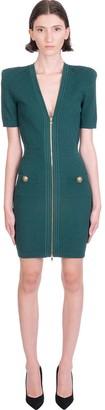 Balmain Dress In Green Viscose