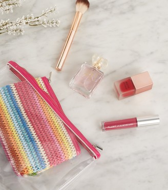 New Look 2 Pack Rainbow Woven and Clear Make-Up Bags