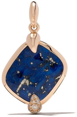 Pomellato 18kt rose gold Ritratto lapis lazuli and brown diamond pendant