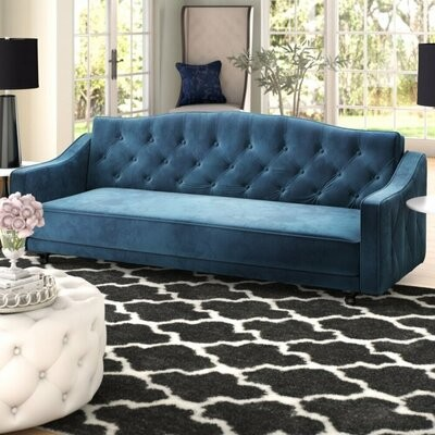 """Thumbnail for your product : Rosdorf Park Berlyn Velvet 85"""" Recessed Arms Sofa Fabric: Blue"""