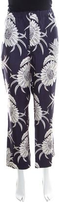 Prada Navy Blue Tropical Floral Printed Silk Elasticized Waist Pyjamas XL