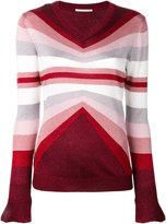 Marco De Vincenzo V-neck striped jumper - women - Polyamide/Polyester/Acetate - 42