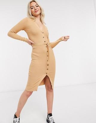 Brave Soul dallia button down jumper dress in rib