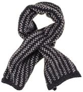 Black Charcoal and Light Grey Cashmere Cravat Scarf
