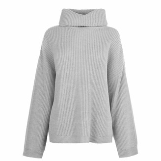 Soul Cal SoulCal . Womens Roll Neck Jumper Long Sleeves (Grey Marl 12)