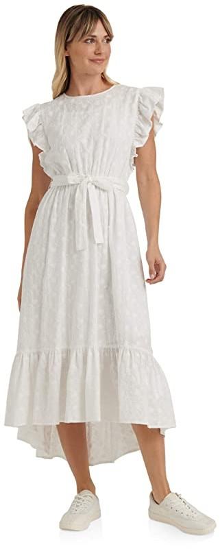 Lucky Brand Flutter Sleeve Crew Neck Tie Waist Reese Maxi Dress (Lucky White) Women's Clothing