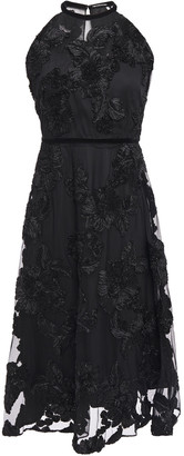Elie Tahari Myranda Velvet-trimmed Embroidered Tulle Dress