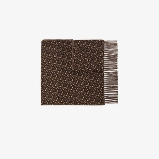 Burberry Brown Monogram Jacquard Cashmere Scarf