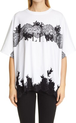 Valentino Oversize Lace Trim Logo High/Low Graphic Tee