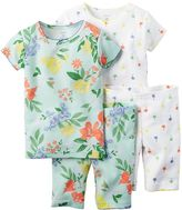 Carter's Girls 4-10 4-pc. Floral Tee & Shorts Pajama Set