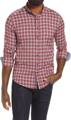 Stone Rose Dry Touch Microdot Performance Plaid Button-Down Shirt