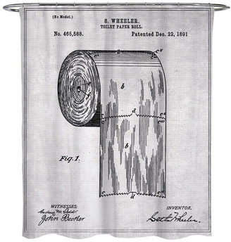"""Oliver Gal Toilet-Paper Roll 1891"""" Shower Curtain, 71""""x74"""""""