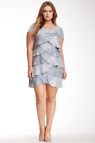 London Times L0420W Layered Scoop Neck Sheath Dress