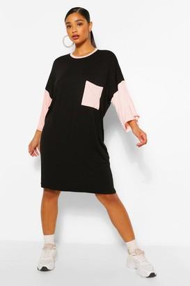 boohoo Plus Colour Block T-Shirt Dress
