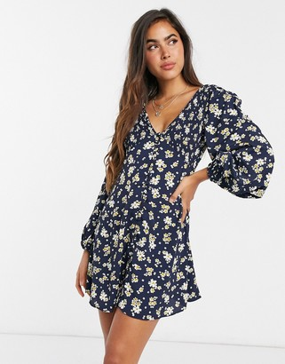 ASOS DESIGN shirred v-neck button-through mini tea dress in ditsy floral print