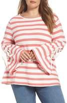 Caslon Stripe Bell Sleeve Top