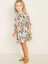 Old Navy Printed Crinkle-Crepe Ruffle-Waist Dress for Toddler Girls