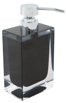 clear Bath Bliss Double Infused Acrylic Square Foaming Soap Dispenser Black and