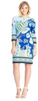 London Times T2599MJC Quarter Sleeve Abstract Floral Dress